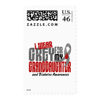 Diabetes I WEAR GREY FOR MY GRANDDAUGHTER 6.2 Postage Stamp