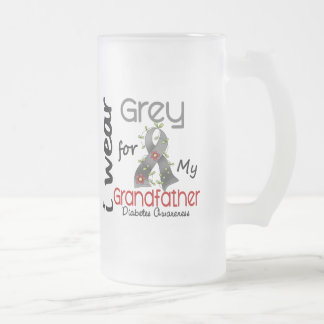 Diabetes I Wear Grey For My Grandfather 43 16 Oz Frosted Glass Beer Mug