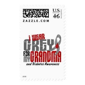 Diabetes I WEAR GREY FOR MY GRANDMA 6.2 Postage Stamp