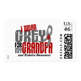 Diabetes I WEAR GREY FOR MY GRANDPA 6.2 Postage Stamp