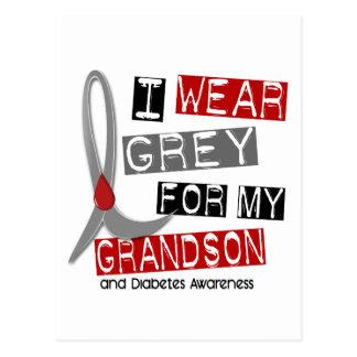 Diabetes I Wear Grey For My Grandson 37 Postcard