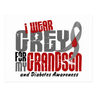 Diabetes I WEAR GREY FOR MY GRANDSON 6.2 Postcard
