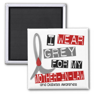 Diabetes I Wear Grey For My Mother-In-Law 43 2 Inch Square Magnet