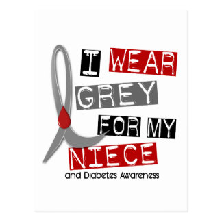 Diabetes I Wear Grey For My Niece 37 Postcard