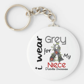 Diabetes I Wear Grey For My Niece 43 Keychain