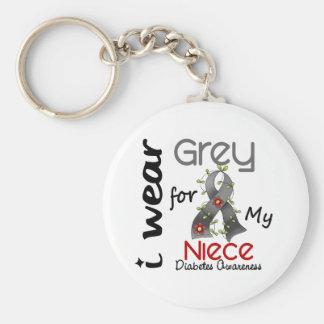 Diabetes I Wear Grey For My Niece 43 Keychain