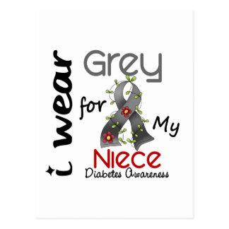 Diabetes I Wear Grey For My Niece 43 Postcard