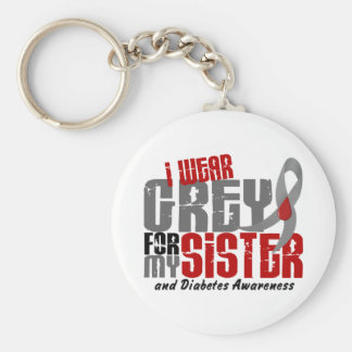 Diabetes I WEAR GREY FOR MY SISTER 6.2 Keychain