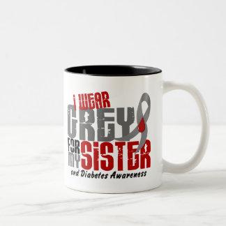 Diabetes I WEAR GREY FOR MY SISTER 6.2 Two-Tone Coffee Mug