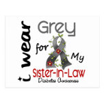 Diabetes I Wear Grey For My Sister-In-Law 43 Postcard