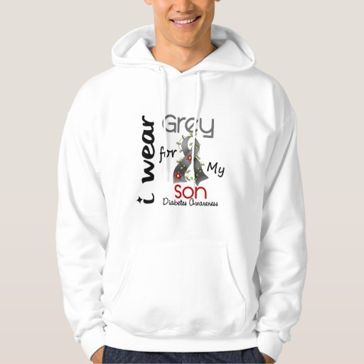Diabetes I Wear Grey For My Son 43 Hooded Sweatshirts