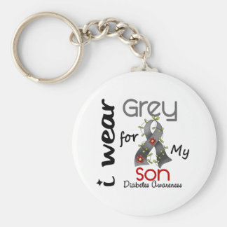 Diabetes I Wear Grey For My Son 43 Keychain