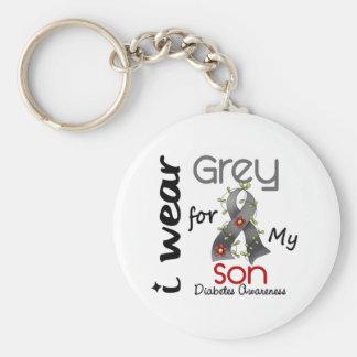 Diabetes I Wear Grey For My Son 43 Key Chain