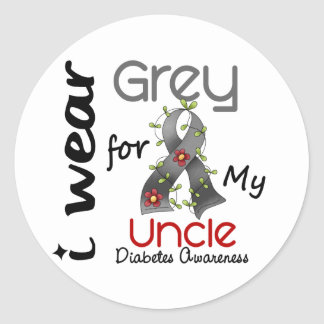 Diabetes I Wear Grey For My Uncle 43 Classic Round Sticker