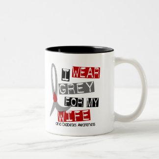 Diabetes I Wear Grey For My Wife 37 Two-Tone Coffee Mug