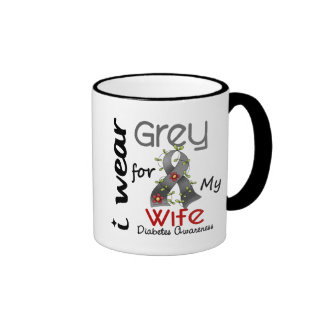 Diabetes I Wear Grey For My Wife 43 Ringer Coffee Mug