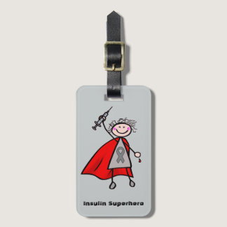 Diabetes Insulin Superhero Girl Bag Tag
