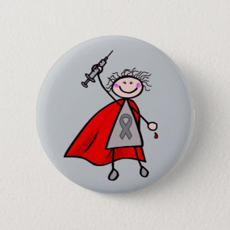 Diabetes Insulin Superhero Girl Button