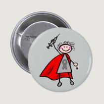 Diabetes Insulin Superhero Girl Button