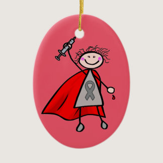Diabetes Insulin Superhero Girl Ceramic Ornament