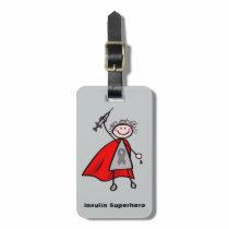 Diabetes Insulin Superhero Girl Luggage Tag