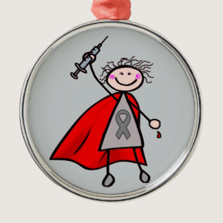 Diabetes Insulin Superhero Girl Metal Ornament