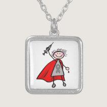 Diabetes Insulin Superhero Girl Silver Plated Necklace