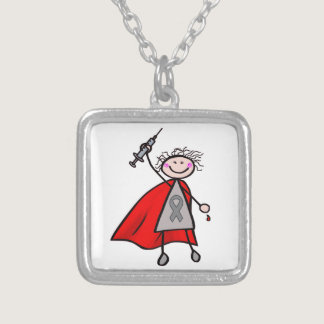 Diabetes Insulin Superhero Girl Silver Plated Necklace