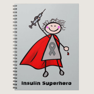 Diabetes Insulin Superhero Girl Spiral Notebook