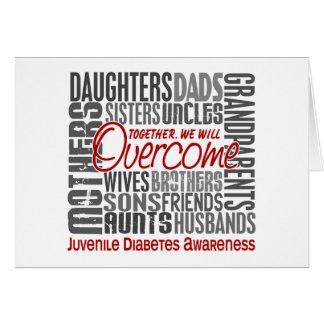 Diabetes juvenil cuadrada de la familia tarjeta de felicitación