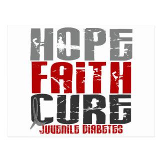 Diabetes juvenil de la curación de fe de la postales