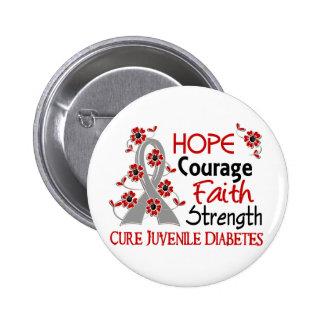 Diabetes juvenil de la fuerza 3 de la fe del valor pin redondo de 2 pulgadas