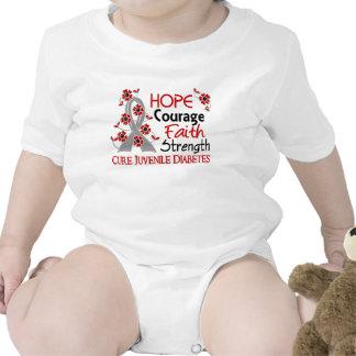 Diabetes juvenil de la fuerza 3 de la fe del valor traje de bebé