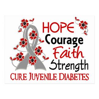 Diabetes juvenil de la fuerza 3 de la fe del valor postales