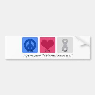 Diabetes juvenil del amor de la paz etiqueta de parachoque