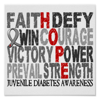 Diabetes juvenil del collage de la palabra de la e póster