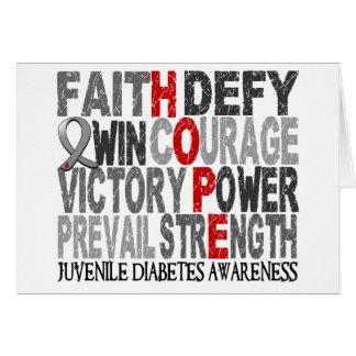 Diabetes juvenil del collage de la palabra de la e tarjeta de felicitación
