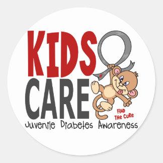 Diabetes juvenil del cuidado 1 de los niños etiquetas redondas