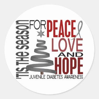 Diabetes juvenil del navidad de la esperanza del pegatina redonda