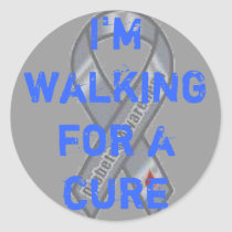 diabetes logo, I'm walking for a cure Classic Round Sticker