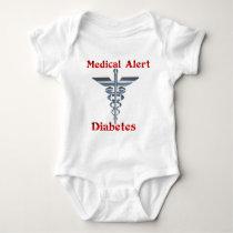 Diabetes Medical Alert Silvear Asclepius Caduceus Baby Bodysuit