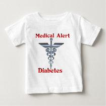 Diabetes Medical Alert Silvear Asclepius Caduceus Baby T-Shirt