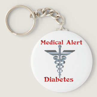 Diabetes Medical Alert Silver Rod & Snakes Keychain