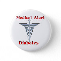 Diabetes Medical Alert Silver Rod & Snakes Pinback Button