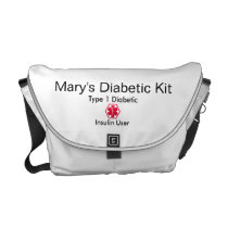 Diabetes Medical Alert  type 1 or 2 Courier Bag
