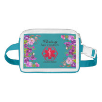Diabetes Medical Alert Type 1 or 2 Floral Blue Waist Bag
