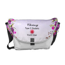 Diabetes Medical Alert  type 1 or 2 floral Glitter Courier Bag