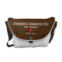 Diabetes Medical Alert  type 1 or 2 Messenger Bag