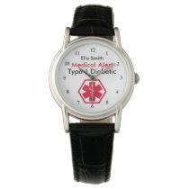 Diabetes Medical Alert Type 1 or 2 Wrist Watch