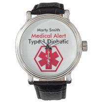 Diabetes Medical Alert Type 1 or 2 Wrist Watch